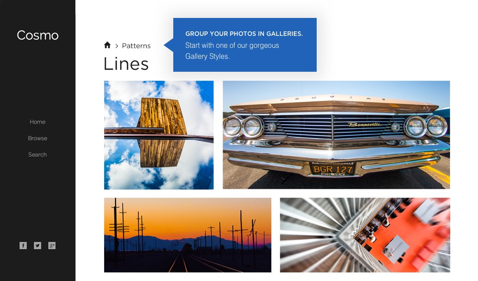 Gallery styles: Group your photos in galleries. Start with one of our gorgeous Gallery Styles.