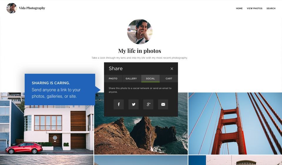 Share options: Sharing is caring. Send anyone a link to your photos, galleries or site.